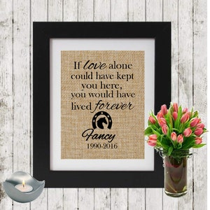 Burlap Personalized Horse Memorial - IF LOVE ALONE - Loss of a Horse - Horse Name and Dates - In Memory of a horse - Horse Sympathy - Burlap