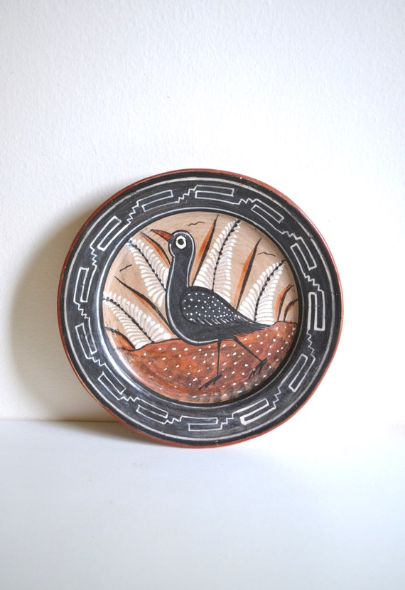 Vintage Decorative Mexican Ceramic Black Bird Plate