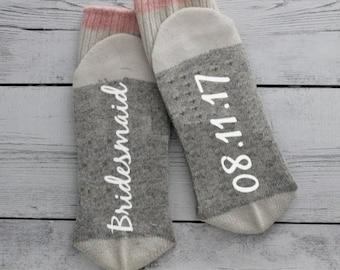 Bridesmaid gift, Bride, Wedding, Bridesmaid gift,  maid of honor gift, socks, Christmas gift, ladies socks, wedding decor, pink, grey,