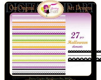 Digital clipart Halloween elements Borders Decorative scalloped strips Clipart border clipart Scrapbooking Halloween candy colors pf00044-2