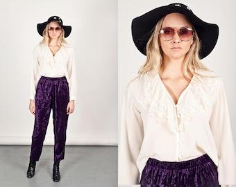 80s Beige Lace Collar Vintage Long Sleeve Cream Blouse