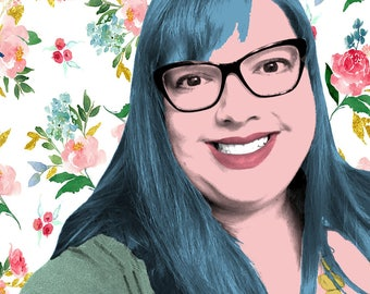 Custom Pop Art Portrait with Floral Background