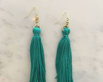 Teal Long Fringe