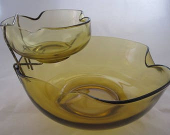 Vintage Amber Glass Chip and Dip Set