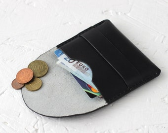 Leather dark card holder wallet minimalist leather business card case credit card wallet travel cardholder small Free Gift