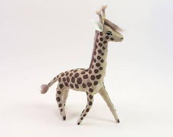 READY TO SHIP Vintage Style Spun Cotton Giraffe Ornament/Figure