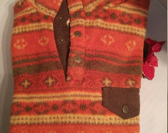 Classic Territory Ahead Autumn Colors Fairisle Fleece Pullover (M)