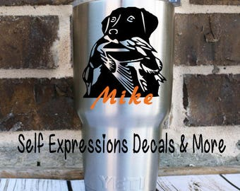 Black Lab Personalized Decal // cup, tumbler, yeti, mug, glass or bottle // Hunting Lab