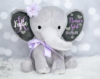 Baby Girls Flower Girl Elephant,  Keepsake Elephant, Flower Girl Gift, Personalized Flower Girl Gift, Elephant Plush, Personalized Elephant