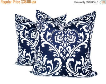 15% Off Sale Blue Pillow 20 x 20 pillow cover Set of TWO Navy Blue Pillow Blue Pillow Decorative Throw Pillows Printed fabric both sides Dar
