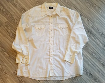 Men's Wrangler Pearl Snap Long Sleeve Western Cowboy Ranch Shirt Big & Tall