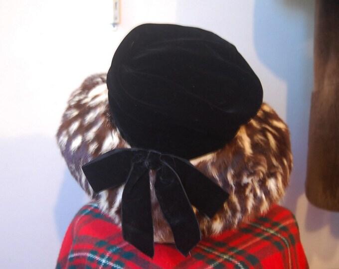 SALE: 60s velvet and spotted fur brimmed hat by John Jr.