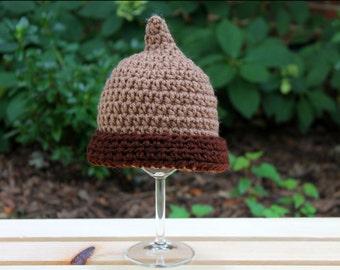 Crochet Acorn Hat, Photo Prop, Handmade Baby Hat