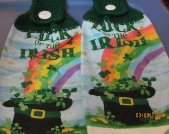 2 Crochet top towels St. Patrick Day Luck of the Irish