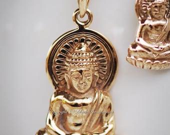 Shakyamuni Buddha Necklace - Large Natural Bronze Gautama Buddha Auspicious Feng Shui Pendant - Insurance Included