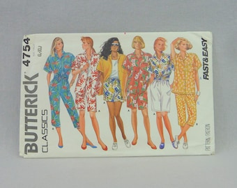 "1987 Pattern - Misses' Shirt Shorts Capris Pants - Butterick 4754 Uncut - L XL 16 18 20 22 - 38-44"" bust - Vintage 1980s Sewing Pattern"