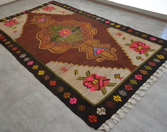 "Turkish Kilim Rug Hand Woven 6'5'' x 11'4'' Area Rug 77"" x 136"" FREE Shipping to USA from Turkey"