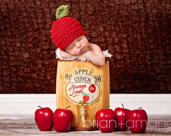 Baby Apple Hat/ Baby Girl Prop/ Baby Boy Prop/ Fall Baby Prop/ Newborn Apple Hat
