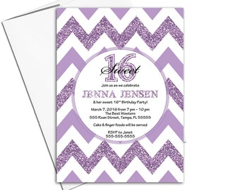 Sweet 16 invitations purple   teen birthday invite chevron   printable or printed - WLP00359