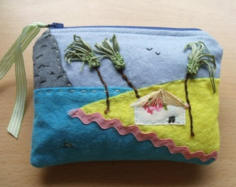 SOLD, but see description. Palm Tree Beach, Embroidered, Hand Sewn, Fabric Rich Padded Felt Mobile Case and/or Purse