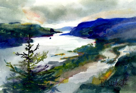 Winter in the Gorge original watercolor - 5x7 matted to 8x10