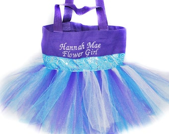 Kids Tutu Bag, Dance Bag, Light Blue Whimsical Ribbon With FREE Monogram Name, Personalized Girl Dance Bag, Fairy Bag, Ballet Bag