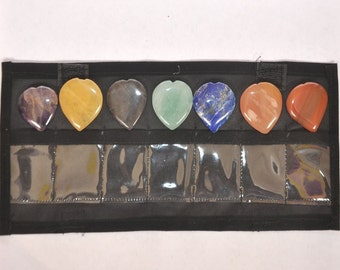 WholesaleGemShop-7 (SEVEN)Chakra Chakra Heart Set with black pouch - 15 mm with Free Shipping
