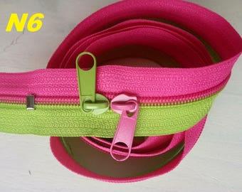 Large zipper slide Bicolor Fuchsia lime green mesh Nylon not separable 1 to 2.5 meters, double sliders long 6mm
