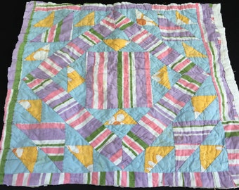 Vintage Hand Quilted Pastel Striped Fabric Cutter Quilt Piece