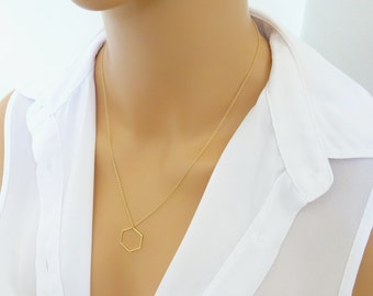 Simple Long Hexagon Necklace, Honeycomb Necklace, Layering Everyday Necklace, 14k gold fill chain, Geometric gold necklace