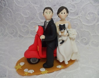 Personalized bride and groom on the vespa wedding cake topper
