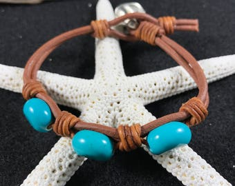 Leather and Stone Bracelet, Leather And Turquoise Stone Bracelet, Leather Bracelet , Three Stone Leather Bracelet, Three Stone Bracelet