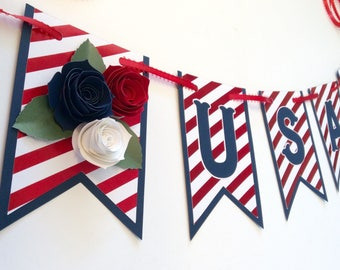 USA banner, 4th of July decoration, Memorial Day decor, America decoration, USA decor, 4th of july celebration, happy birthday banner
