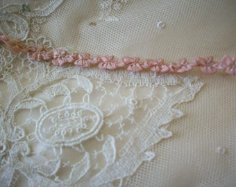 Rococo Antique silk  ribbon work authentic 1910s garland