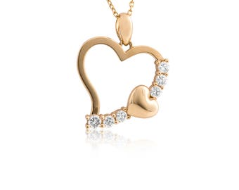 14K Yellow Gold Open Heart Cubic Zirconia Pendant With Twisted Chain 0.30 Ct.