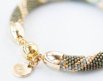 "bead crochet bracelet ""EMMA"" seed bead friendship bracelet wrap bracelet jewelry green miyuki"