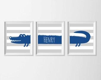 Personalized Alligator Nursery Art, Safari Alligator Nursery Wall Art, Grey Blue Alligator Set of 3, Safari Kids Alligator, Zoo Nursery Art
