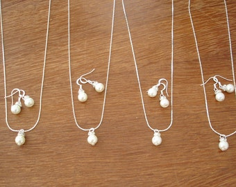 7 Simple & Elegant Pearl Bridesmaid Jewelry Gifts - Necklace and Earrings, Weddings