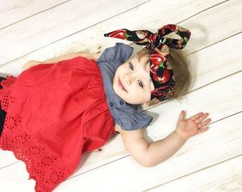 Salsa Picante Headwrap- Headwrap; Salsa Head Wrap; Big Bow; Baby Head Wraps; Mommy and Me Headwrap; Baby Headband; Baby Headwrap; Head Wrap