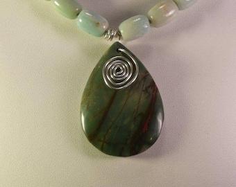 Jasper Pendant on a Amazonite Necklace