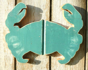 Crab Made with Repurposed Tongue & Groove Hawaiian Wood Turquoise Upcycled
