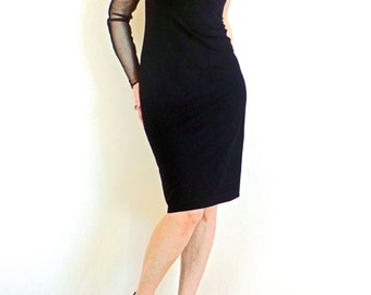 Black Mesh Dress - One Shoulder Pencil Dress - Party Dress - Mini Dress - Coctail Mesh Dress, No.003