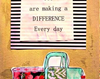 """Camionnette 8.5 """"x 11"""" Wonder plat toile originale faire un différence Inspiration peinture mixte rayures florales navire gratuit"""