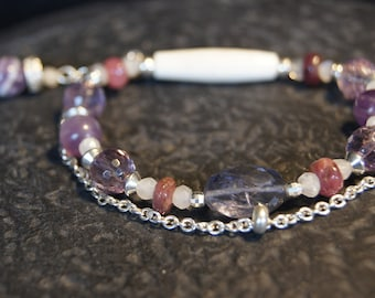 """Nebula"" ametrine faceted bracelet and bone beads, Silver 925 and precious stones"