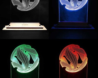 LED Edge-Lit Acrylic Display - 3D Illusion, Twist Ball