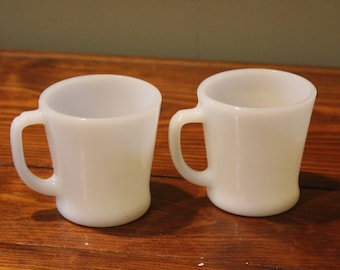 Mid Century Fire King White D Handle Mugs