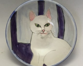 Kitty Bowl with White Cat on Purple Chair