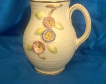 Vintage Arthur Woods Pottery Jug/Pitcher, with applied Flowers