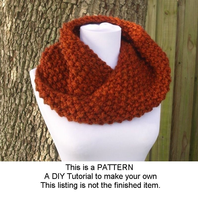 Instant Download Knitting Pattern Pdf Knit Cowl Scarf