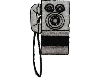 ID 3584 Old Fashioned Rotary Phone Patch Payphone Embroidered Iron On Applique
